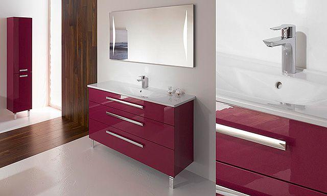Ensemble essento avec meuble 3 tiroirs couleur fuchsia plan en c ramique colonne 5 tag res - Colonne de salle de bain avec tiroir ...