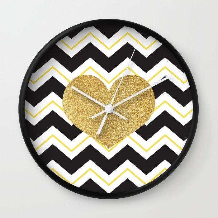 Golden Glittery Heart Wall Clock | Wall Decoration | Pinterest ...
