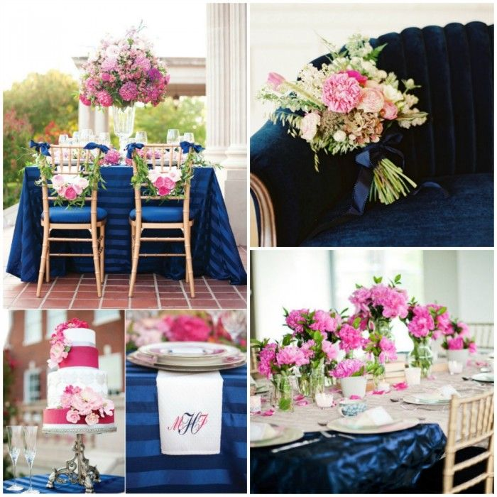 Navy and pink navy blue and coral pink wedding for Navy blue and pink wedding