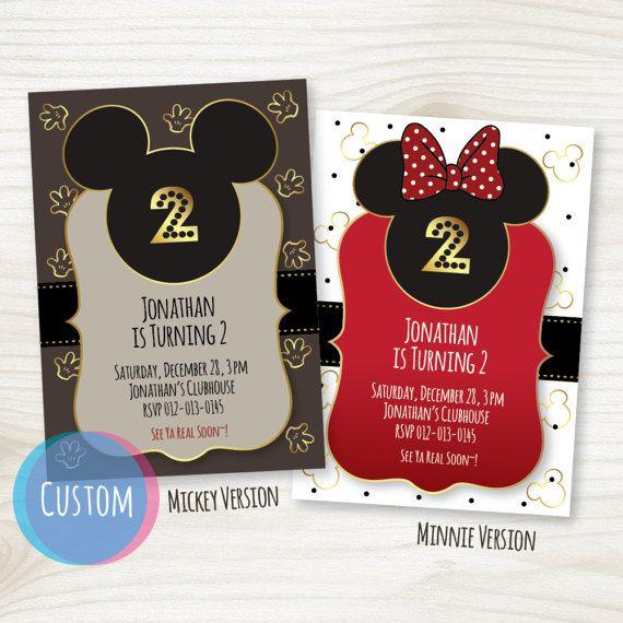custom birthday invitations printable mickey mouse minnie mouse