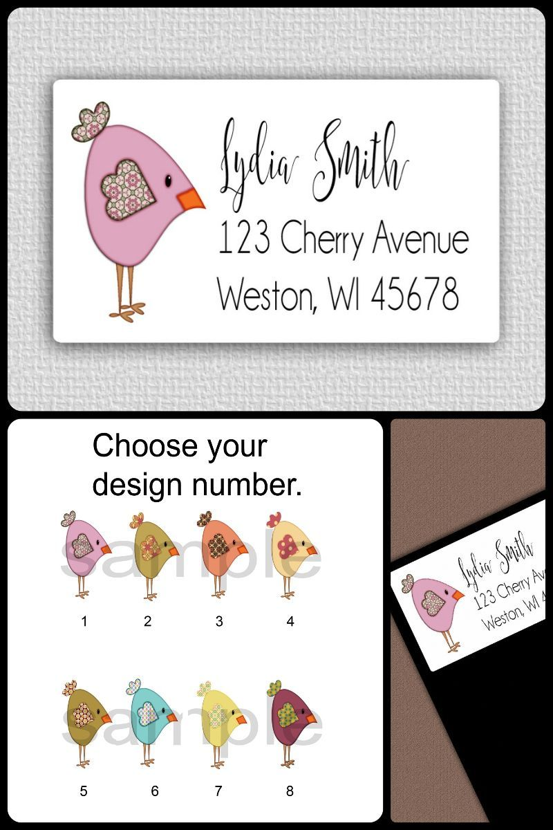 30 Custom Vintage Merry Christmas Birds Personalized Address Labels