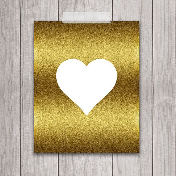 Heart in Gold - 8x10 Wall Decor