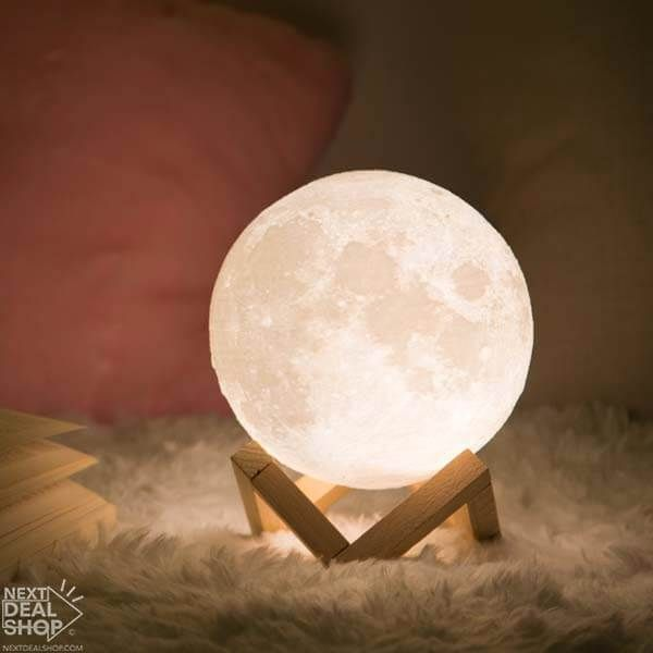 Enchanting 3d Moon Light Set W Wooden Stand Cool Lights For Bedroom Lamp Wooden Stand