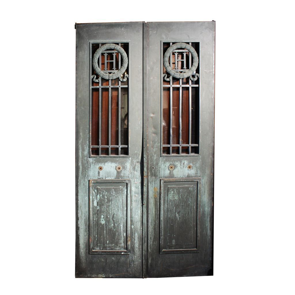 Stately Pair of Antique Bronze Doors from Detroit, with
