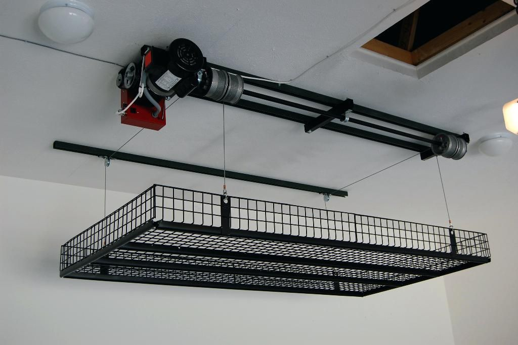 Garage Storage Lift System Ideas Unique Posted Above Door Motorized