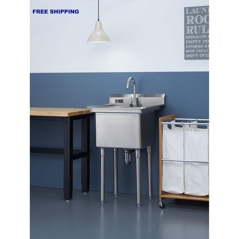 Stainless Steel Utility Sink With Legs Single Basin Kitchen Laundry ...