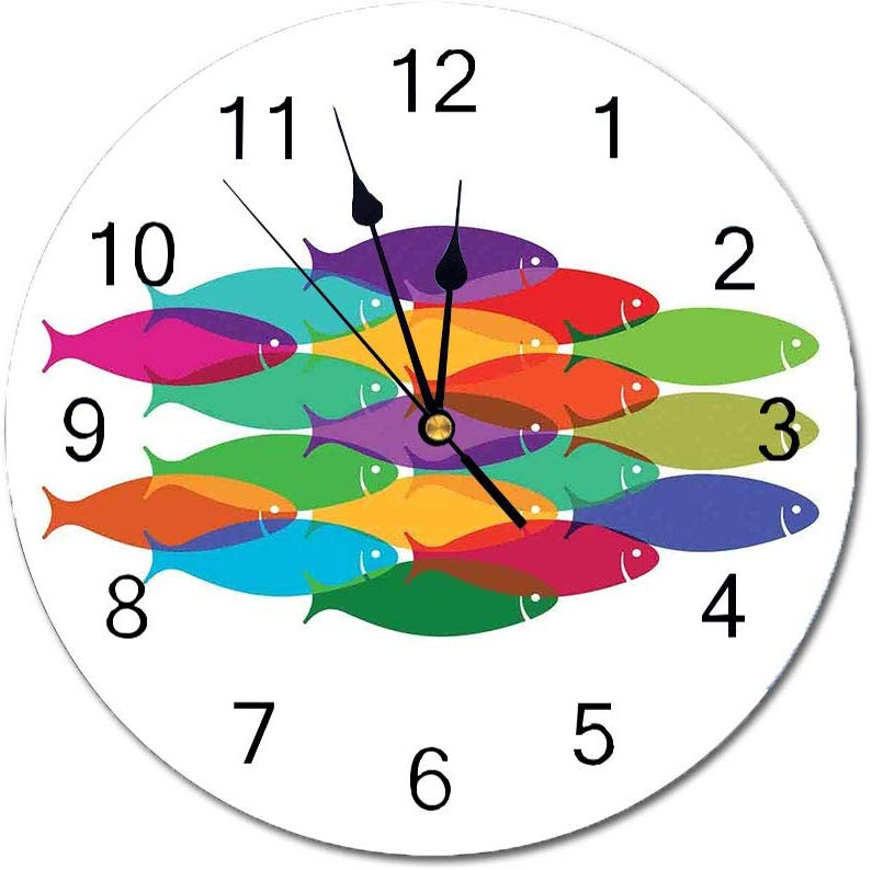 Yeeboo Ocean Animal Decor 10 Inch Round Wall Clock Digital Nested Fish Shoal Cluster Icon Deep Teamwork Symbo In 2020 Wall Clock Digital Animal Decor Round Wall Clocks