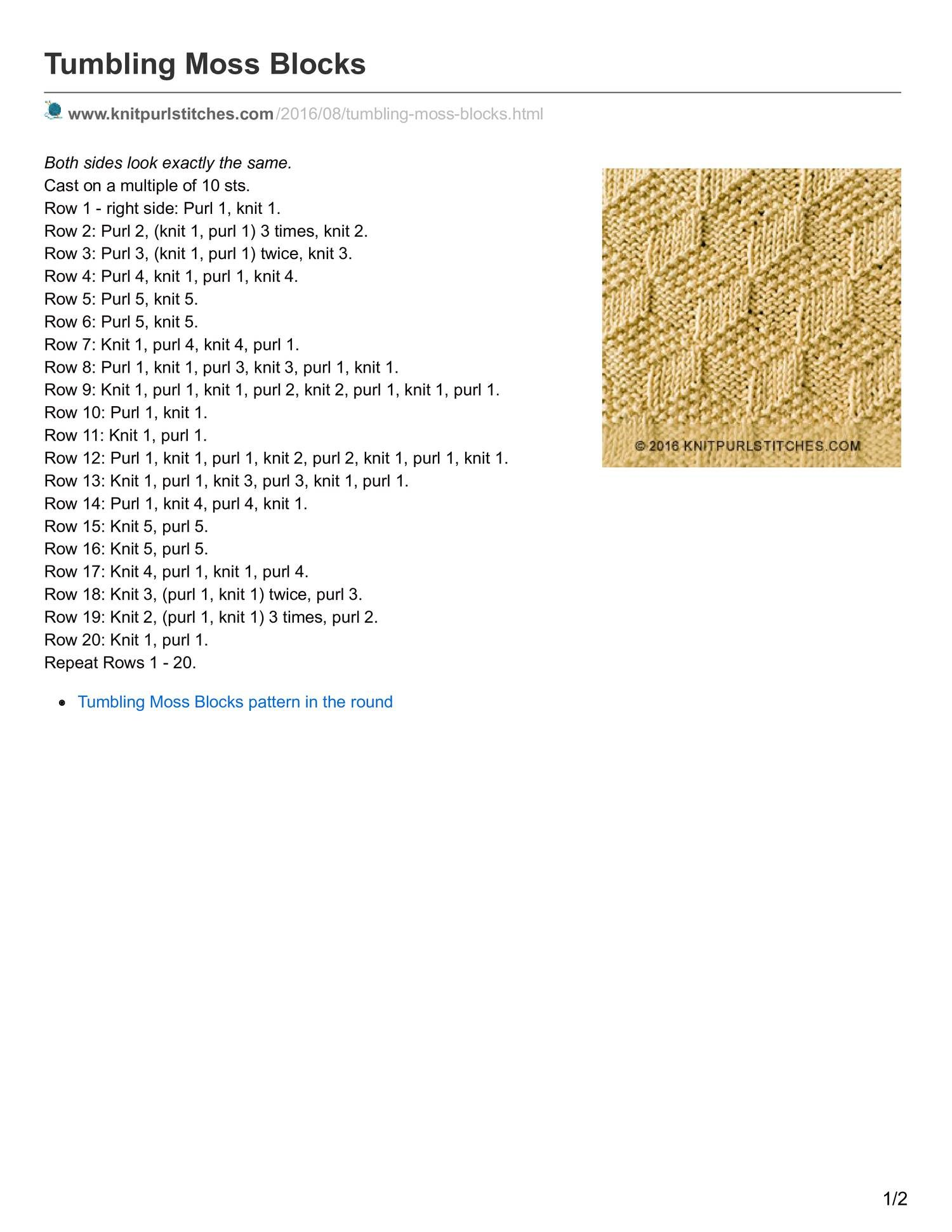 View and download knitpurlstitches.com-Tumbling Moss Blocks.pdf on ...