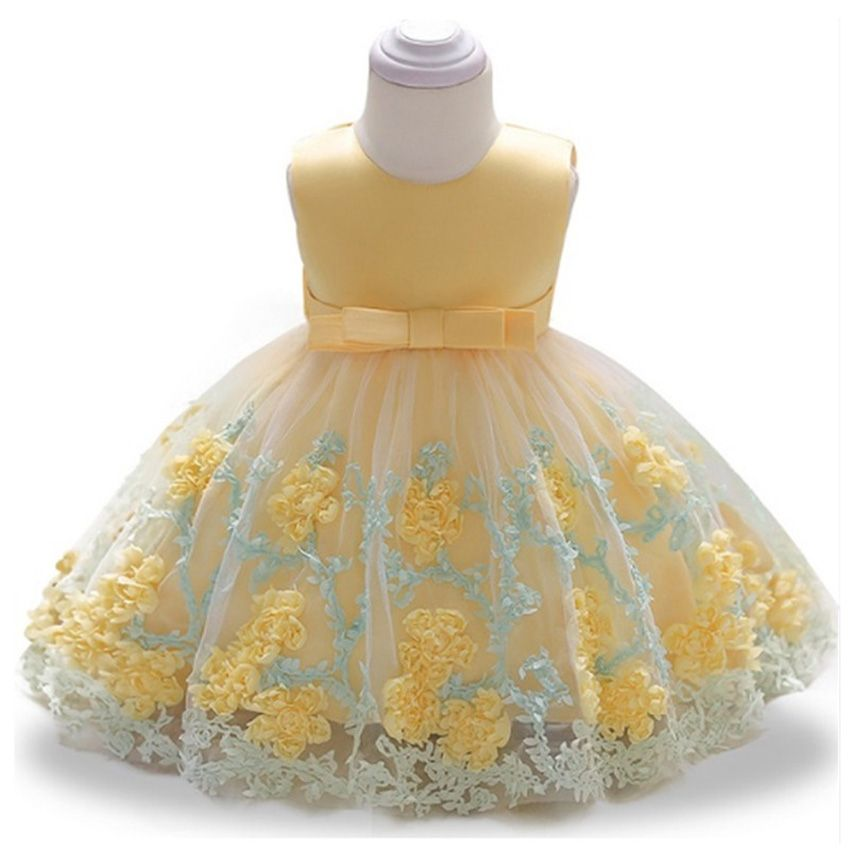 7cdecbb48e4ed Brand Bowknot Newborn Baby Girls Flower Lace Baptism Dresses for 12 Month 1  Year First Birthday Princess Christening Gown Outfit-in Dresses from Mother  ...