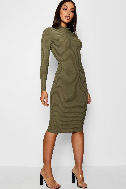 Ribbed High Neck Long Sleeved Midi Dress Boohoo Long Sleeve Midi Long Sleeve Midi Dress Midi Dress [ 1500 x 1000 Pixel ]