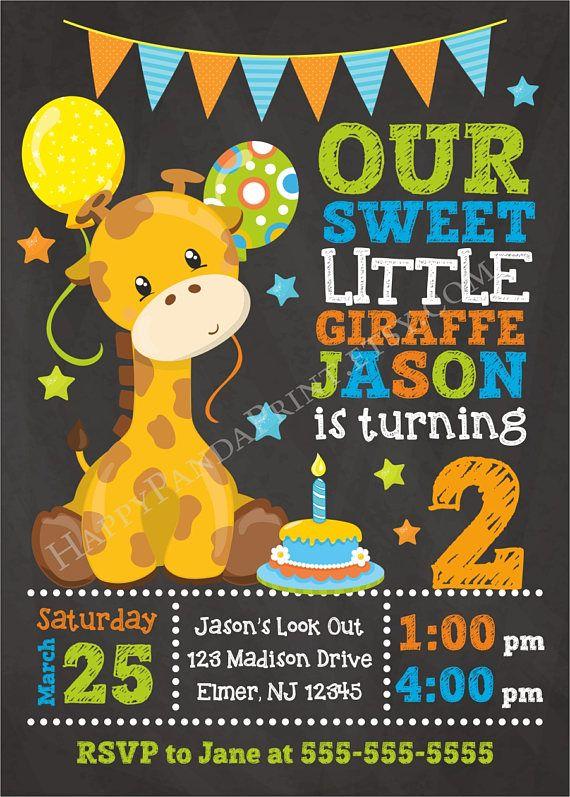 Giraffe Birthday Invitation Safari Jungle Animals Zo