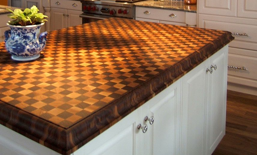 Cherry And Walnut Butcherblock Island Countertop By Grothouse Contemporary Kitchen Countertops