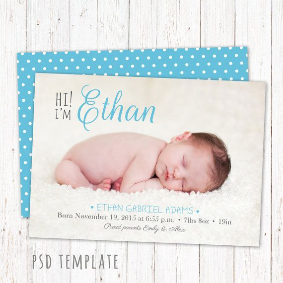 psd birth announcement template card by graphiccorner on etsy