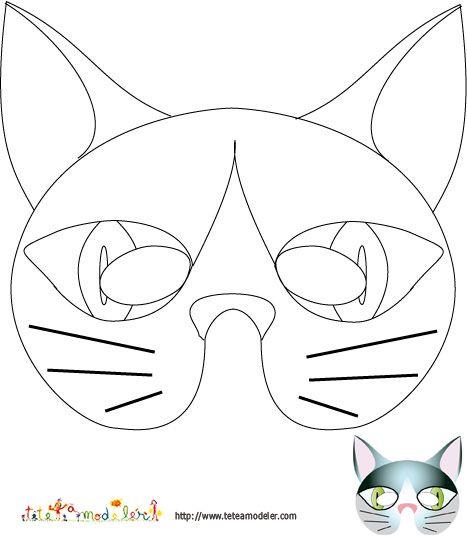 Imprimer le modele du masque de chat a colorier | Masque
