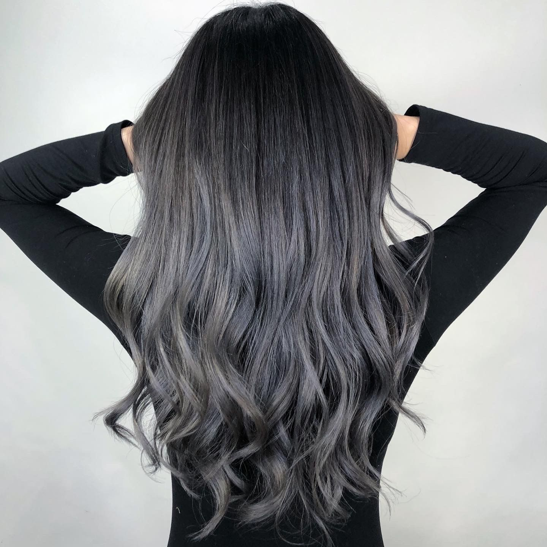 Dark ashgrey balayage style in 15   Balayage hair dark, Dark ...