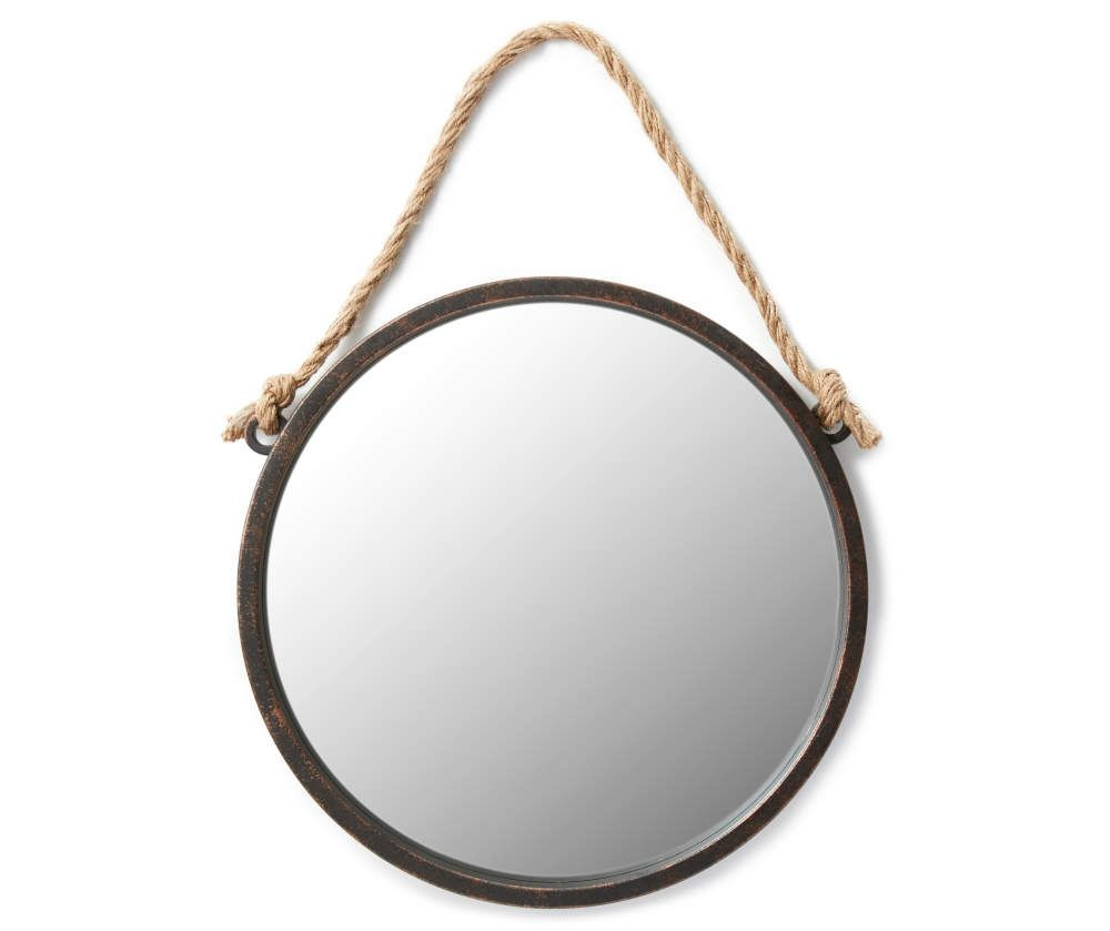 Round Hanging Wall Mirror With Rope 19 Big Lots In 2020 Round Mirror With Rope Mirror Wall Black Round Mirror
