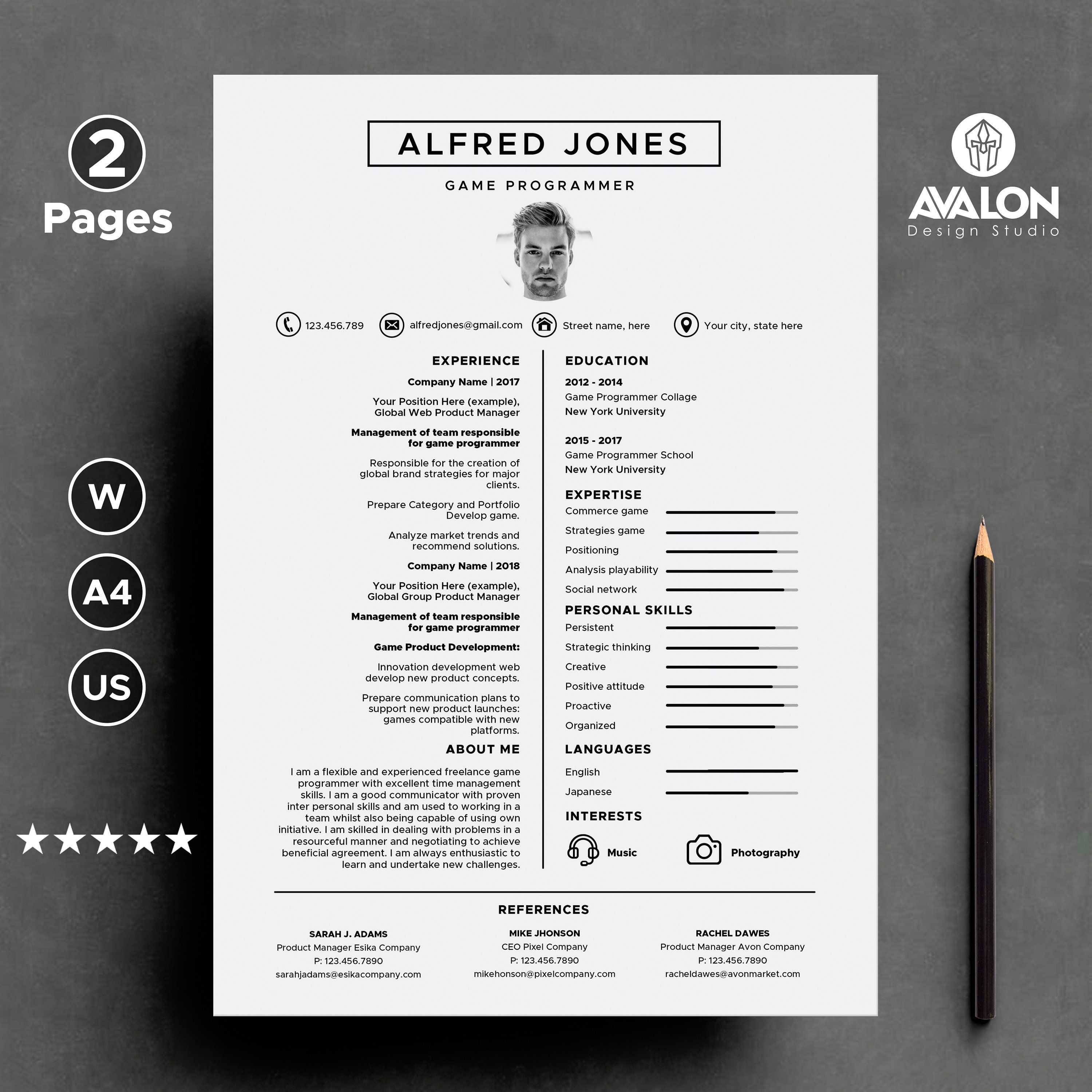 Resume template for MS Word 2 page Professional CV