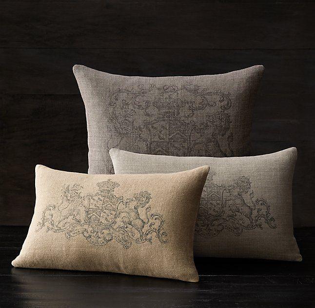 Wentworth Crest Vintage Washed Belgian Linen Pillow Cover Pillows Linen Pillow Covers Linen Pillows