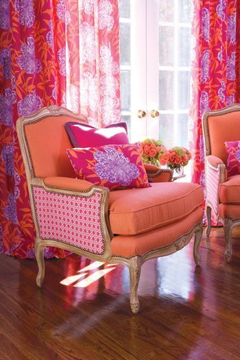Color reigns supreme in this bright sitting area by Duralee. Duralee ...