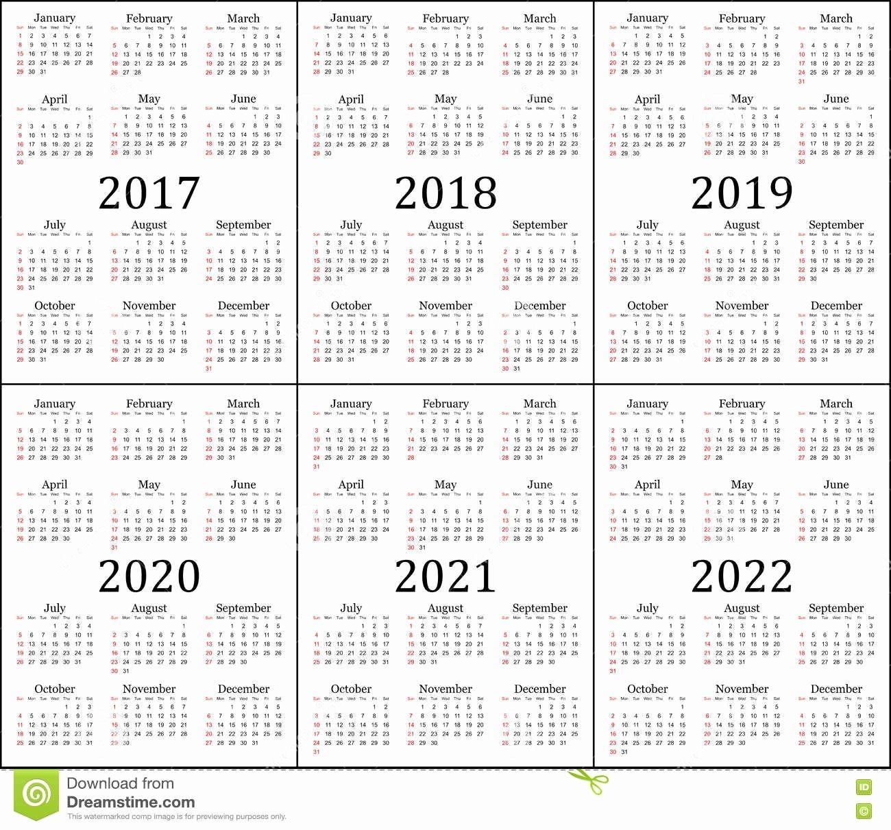 Three Year Calendar 2019 2020 2021 Di 2020