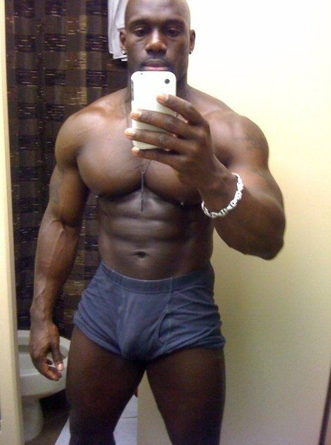 Big black men bulge