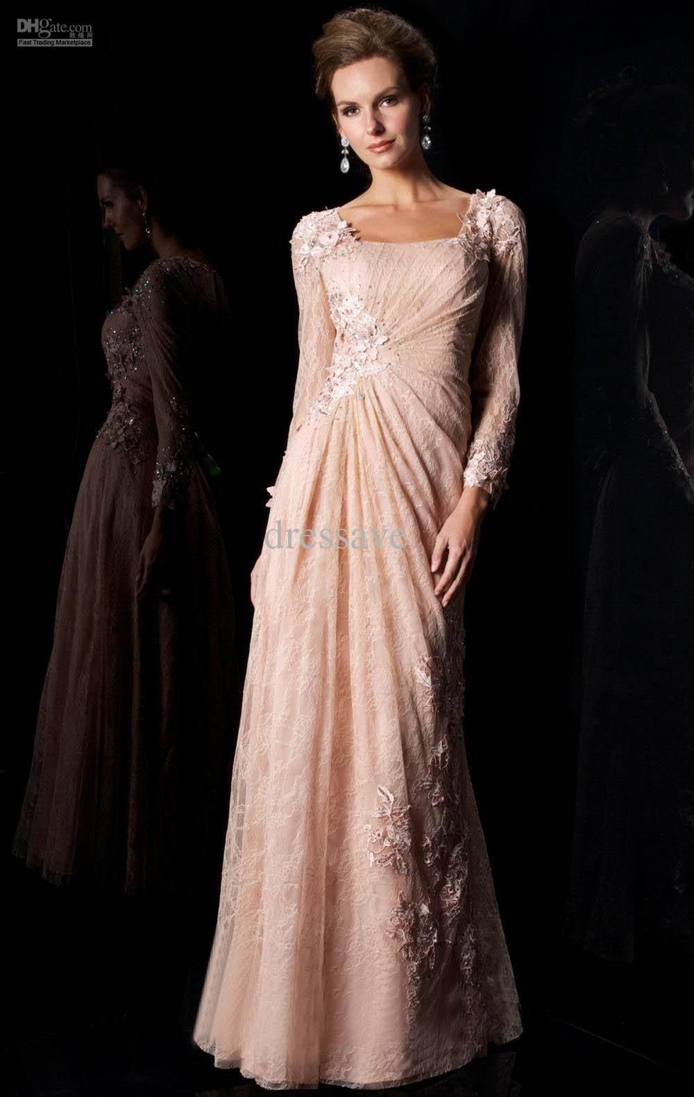 7868249f02 Wholesale Mother of the Bride Dresses - Buy 2013 Prom Dresses New Long  Sleeve Lace Applique Sheath Mather of Bridemaid Dresses two Style W034