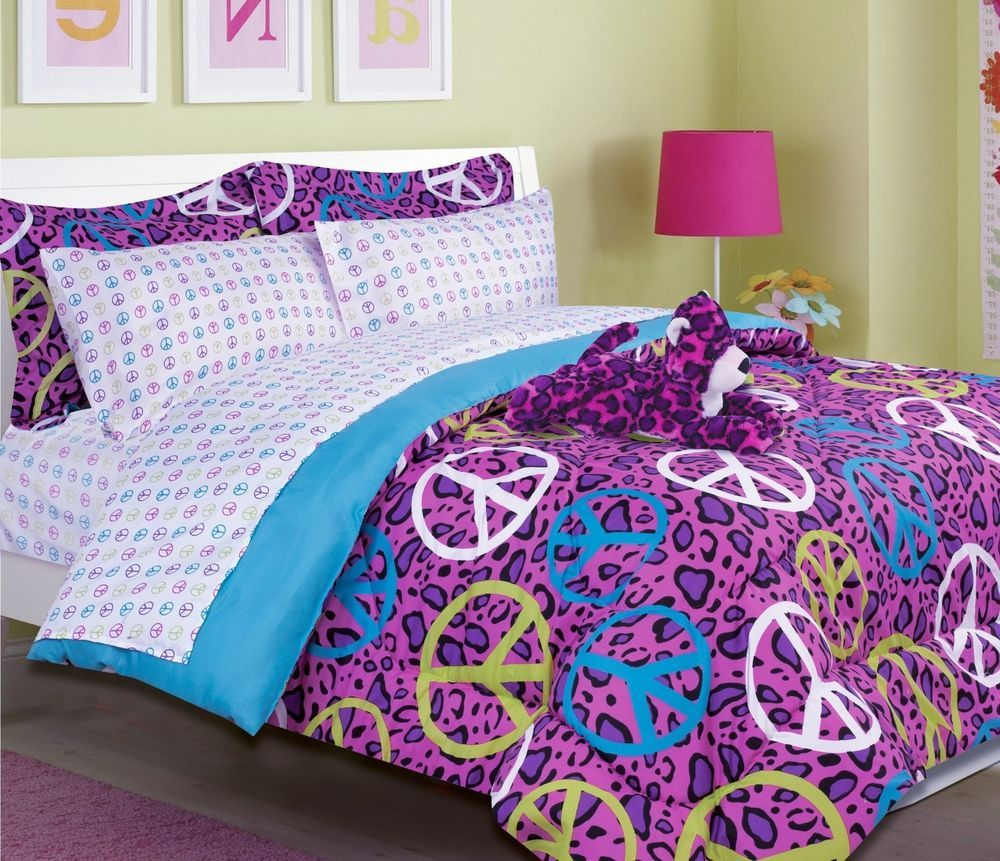 Girls Bedding Annie Peace Signs pink purple Comforter Set free stuffed leopard