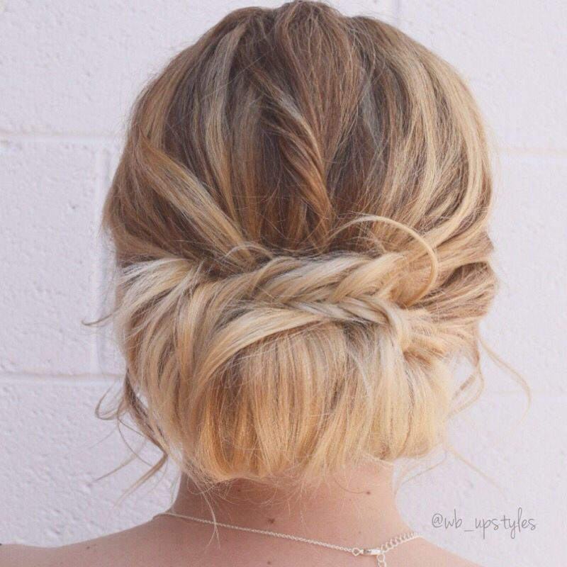 Low Loose Bun Hairstyles For Weddings: Bridal Updo. Low Loose Bun With A Braid. For More Hair
