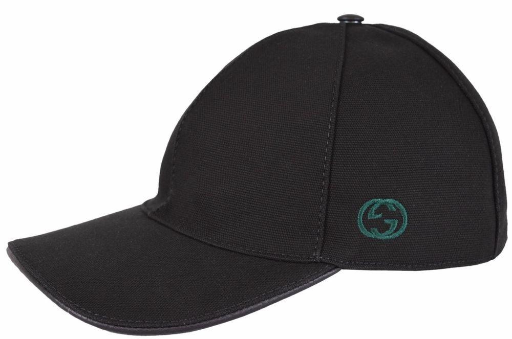 cd9be7529c6cc NEW Gucci Men s 387554 BLACK Canvas GG Green Red Web Baseball Cap Hat M   Gucci  BaseballCap