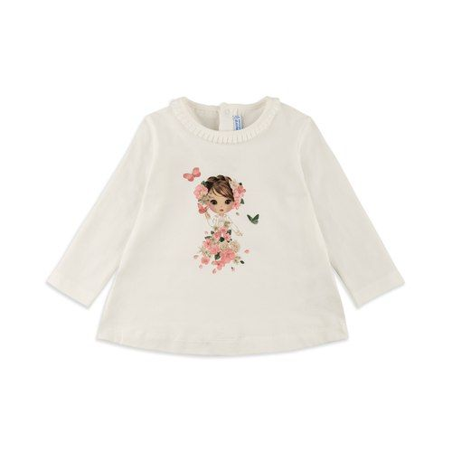 5f082fb57792 Baby Girls Floral Print T-Shirt - Cream