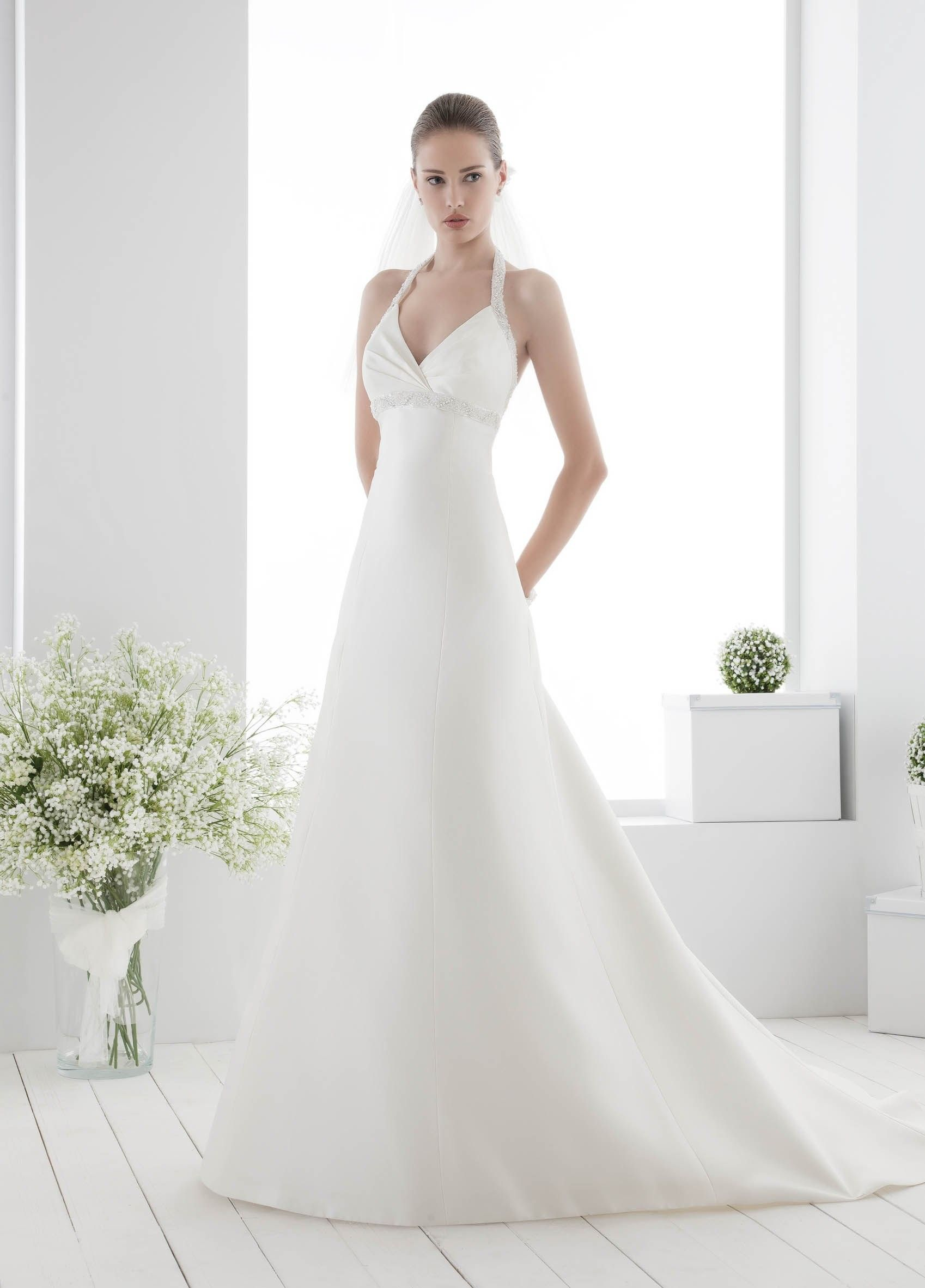 Modern Sleeveless A-line V-neck Halter Satin Wedding Dress $321.48 Halter Wedding Dresses