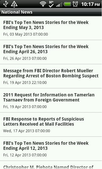 FBI's Most Wanted Android application featuring list view