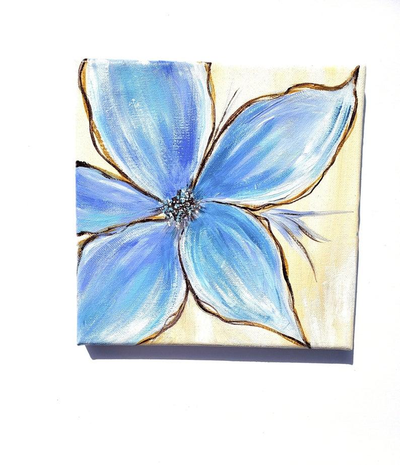 Blue Flower Canvas Painting Original Art Bathroom Wall Art Etsy Flower Painting Canvas Blue Flower Painting Flower Canvas