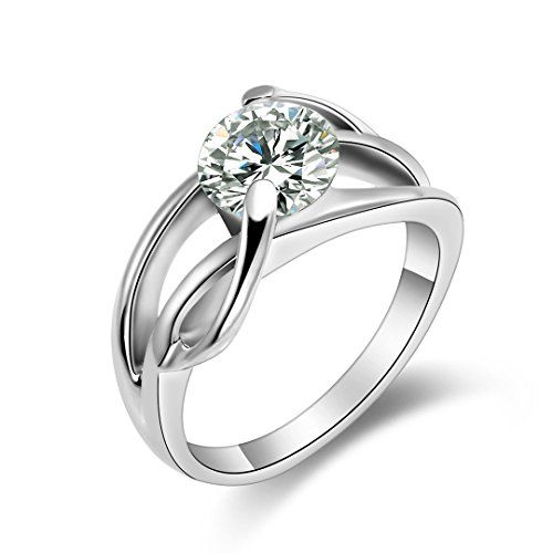 Flongo Love Infinity Stainless Steel Ring with Sparkling 20 Ct CZ