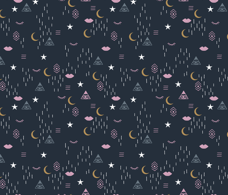 Colorful fabrics digitally printed by Spoonflower – Trust the universe moon stars and spiritual yoga mindfulness indian elements navy pink golden