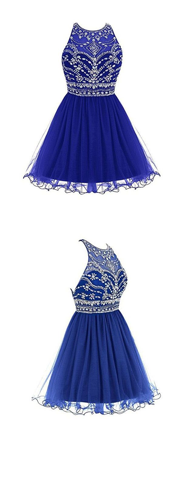 Outlet engrossing short prom dresses royal bule tulle homecoming