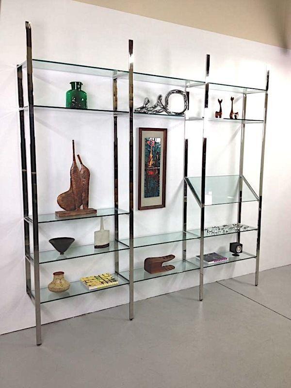 Rare Milo Baughman Thayer Coggin 3 Section Chrome Gl Wall Unit Cado Mcm Eames Smoking Hot