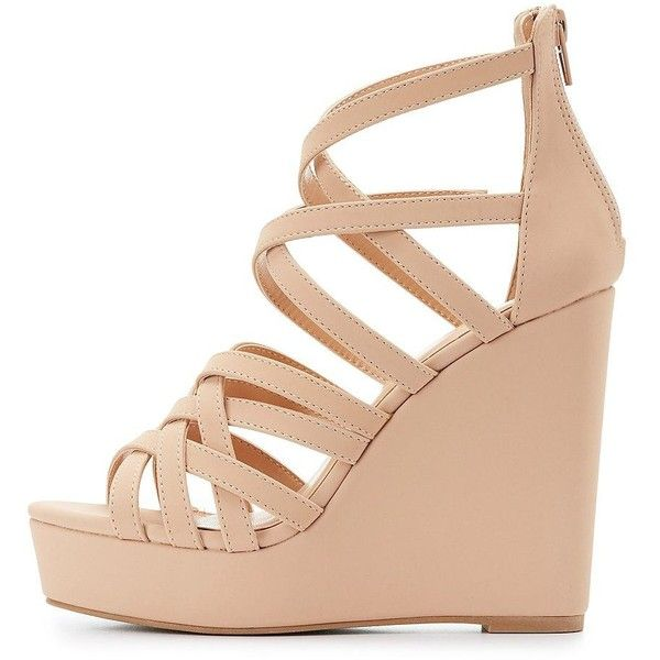 a81eb2137e5 Charlotte Russe Strappy Wedge Sandals ( 39) ❤ liked on Polyvore featuring  shoes