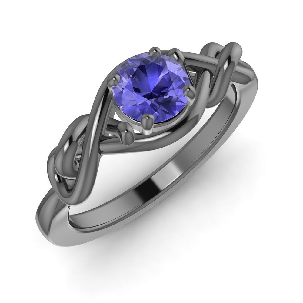 0.50 Carat Natural AA/AAA Tanzanite 14k Black Gold Solitaire Promise Ring #Diamondere #Solitaire