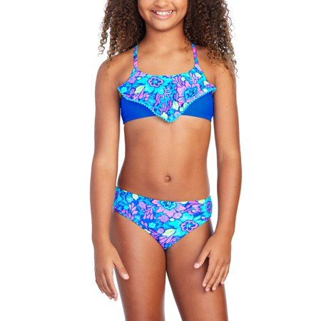 d895a89560 Plus Size Girls' Floral Print Fashion Bikini, Size: Kids 4 Plus, Blue