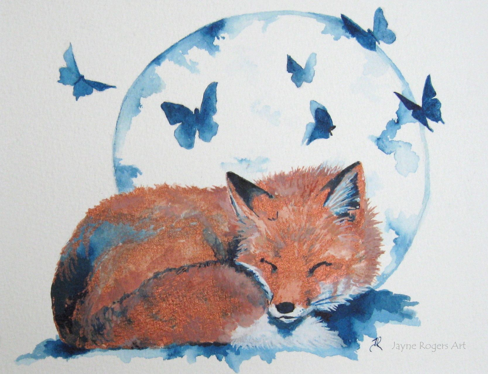Luna Fox Original Painting Fox Moon And Butterfly Painting With Acrylic Ink By Jayne Rogers Art Fox Painting Contempary Art Animal Paintings