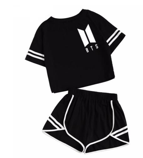 Bts Clothes Set 2 Piece Woman Suits Shorts Crop Tops Shorts Pants Outfit Bts Clothing Bts Inspired Outfits Crop Top And Shorts