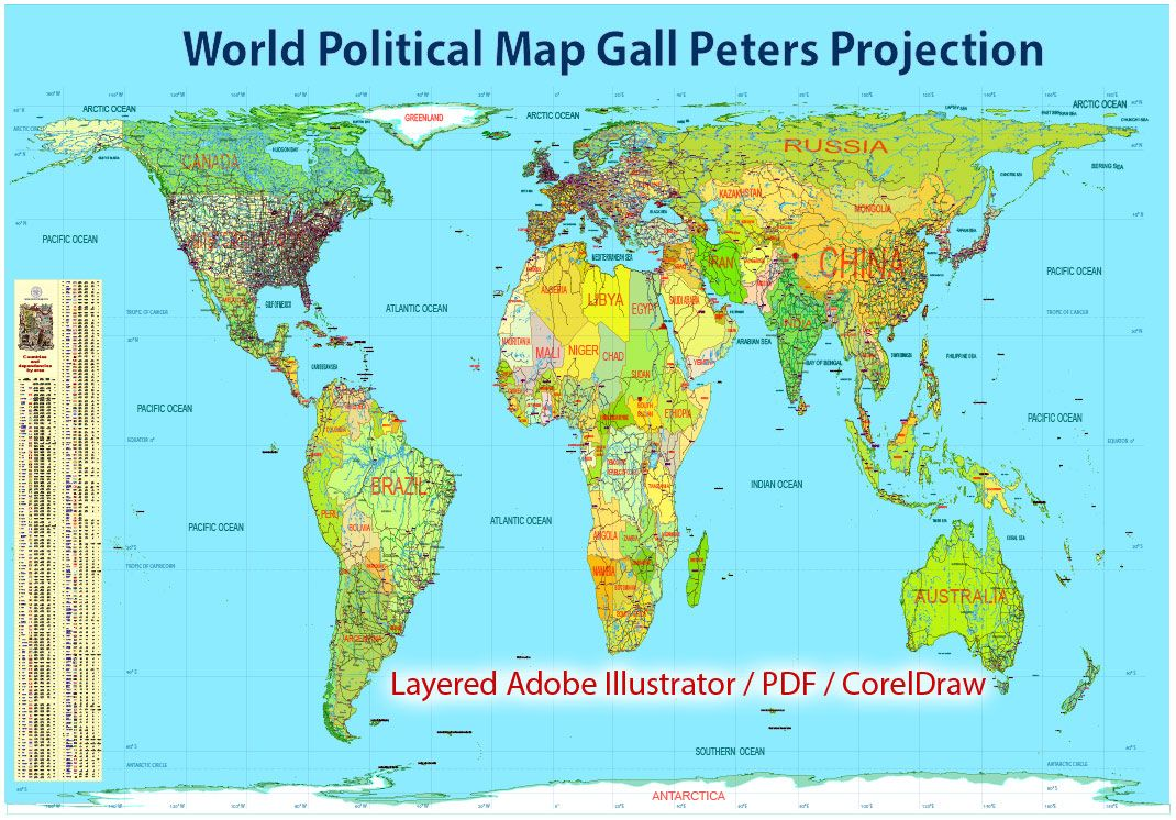 Gall Peters Projection World Map.Printable World Political Map Gall Peters Projection Adobe