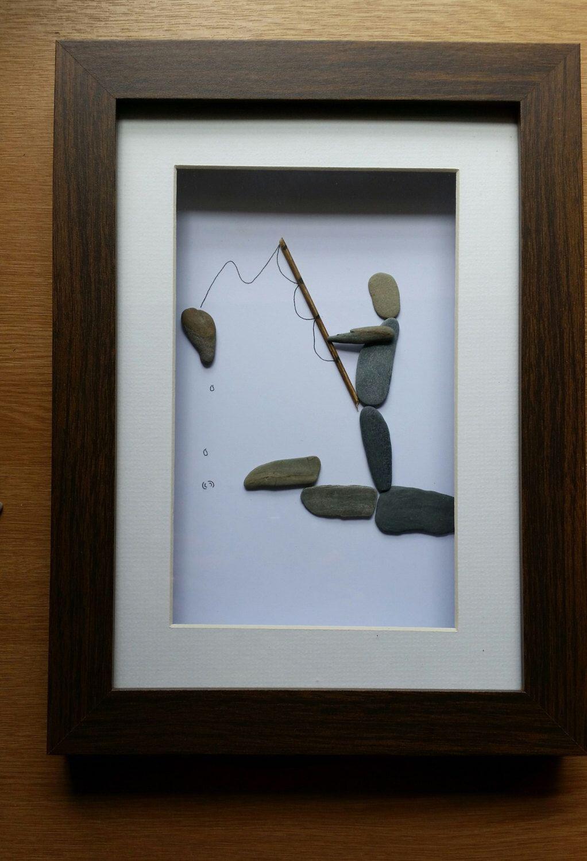 Pebble Art: Fisherman by CornishPebbleArt on Etsy https://www.etsy.com/listing/233806551/pebble-art-fisherman