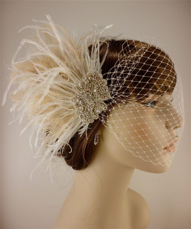 Wedding Head Piece,Feather Hair Comb,Bridal Crystal Feather Comb,Fascinator,Bridal Hair Accessories,Ivory Hair Comb,Great Gatsby Headpiece