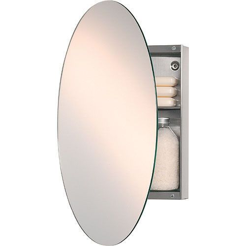 Oval Mirror And Concealed Stainless Steel Cabinet