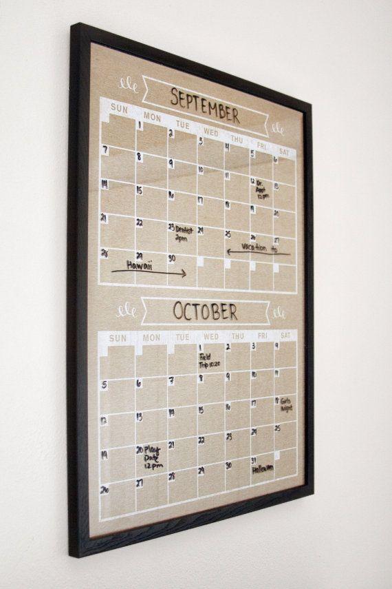 Monthly dry erase wall calendar