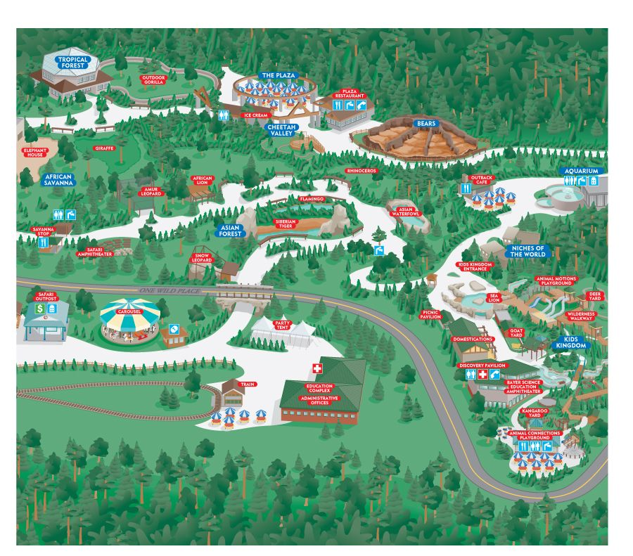 3d Map Illustration Of The Pittsburg Zoo With Images City