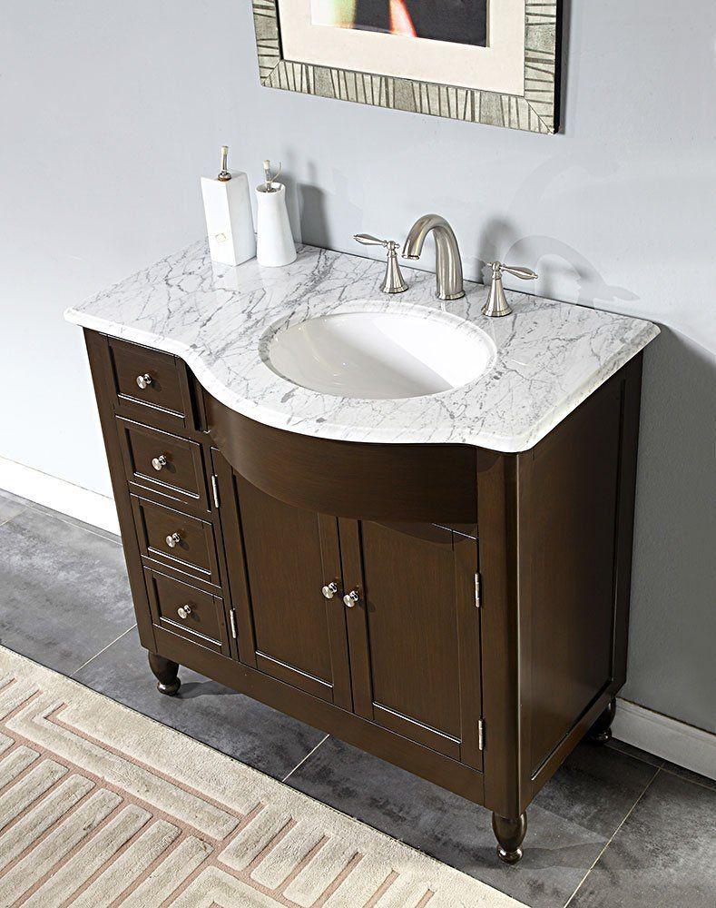 Bathroom Vanity Marble Top Right Side Sink Cabinet WR Bath - Bathroom vanity with sink on right side