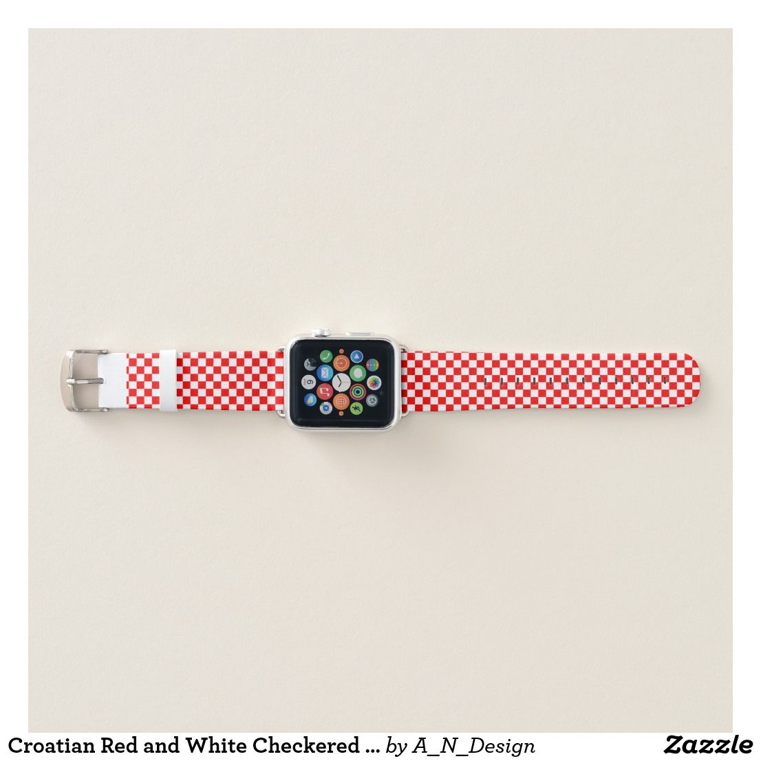 Croatian Red And White Checkered Pattern Apple Watch Band Zazzle